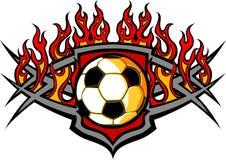 Het Malplaatje van de Bal van het voetbal met het Beeld van Vlammen royalty-vrije illustratie