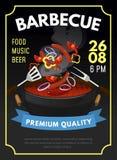 Het malplaatje van de barbecueaffiche BBQ de zomeruitnodiging met geroosterde vlees en groenten Vector illustratie vector illustratie