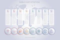 Het malplaatje van de de bellengrafiek van de Infographicskleur voor 8 posities Stock Foto
