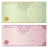 Het malplaatje van de bon/van de coupon met guilloche patroon Stock Foto