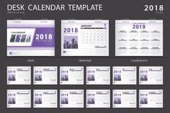 Het malplaatje van de bureaukalender 2018, purper dekkingsontwerp, vector illustratie