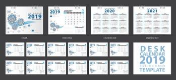 Het malplaatje van de bureaukalender 2019, Reeks van 12 Maanden, Kalender 2020-2021 kunstwerk, Ontwerper, Week begint op Zondag,  royalty-vrije illustratie