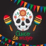 Het malplaatje van de Cincode Mayo kaart met masker en maracas