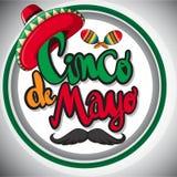 Het malplaatje van de Cincode Mayo kaart met maxican hoed en maracas