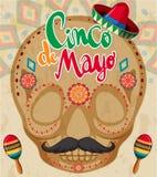 Het malplaatje van de Cincode Mayo kaart met menselijke schedel