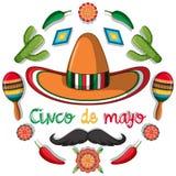 Het malplaatje van de Cincode Mayo kaart met Mexicaanse decoratie