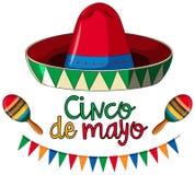 Het malplaatje van de Cincode Mayo kaart met rode hoed en kleurrijke vlaggen