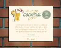 Het malplaatje van de de afficheuitnodiging van de zitkamercocktail party Stock Foto