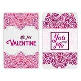 Het malplaatje van de de dagkaart van de valentijnskaart Kanten romantische Indische stijlinvita Royalty-vrije Stock Afbeelding