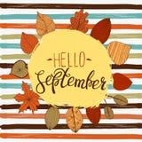 Het malplaatje van de de herfstvlieger van Hello september met het van letters voorzien Heldere Dalingsbladeren Affiche, kaart, e Royalty-vrije Stock Foto