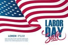 Het malplaatje van de de speciale aanbiedingbanner van de Dag van de Arbeidverkoop met golvende Amerikaanse nationale vlag stock illustratie