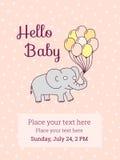 Het malplaatje van de de uitnodigingskaart van de babydouche, beeldverhaalolifant Stock Fotografie