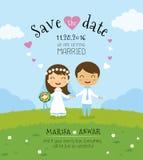 Het malplaatje van de de uitnodigingskaart van het beeldverhaalhuwelijk Stock Foto