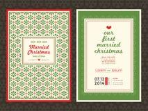 Het malplaatje van de de uitnodigingskaart van het Kerstmishuwelijk Stock Foto