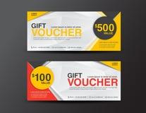 Het malplaatje van de giftbon, couponontwerp, kaartje, kortingsbon tem Stock Foto