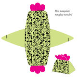 Het malplaatje van de giftdoos met bloemenpatroon Geen nodig lijm Royalty-vrije Stock Fotografie