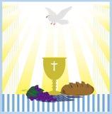 Het malplaatje van de Heilige Communiekaart met duif, Royalty-vrije Stock Afbeelding
