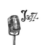 Het malplaatje van de het embleemaffiche van de jazzmuziek Abstracte waterverfachtergrond voor kaart, vlieger, pamflet, brochure, stock foto's