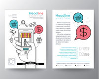 Het malplaatje van de het ontwerplay-out van de brochurevlieger met digitaal marketing concept