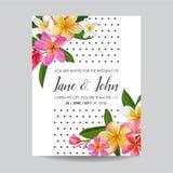 Het Malplaatje van de huwelijksuitnodiging met Plumeria-Bloemen Tropische Bloemen sparen de Datumkaart Exotisch Bloem Romantisch  stock illustratie