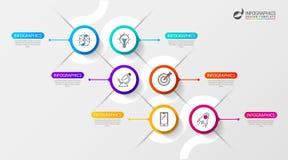 Het malplaatje van de Infographicchronologie met zes opties Vector royalty-vrije illustratie