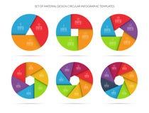 Het malplaatje van de Infographiccirkel in materiële stijl wordt geplaatst die Stock Afbeeldingen
