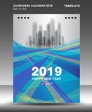 Het malplaatje van het de Kalender 2019 Ontwerp van het dekkingsbureau, vliegermalplaatje, advertenties, boekje, catalogus, bulle vector illustratie
