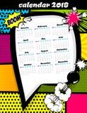 het malplaatje van het de kalenderpop-art van 2018 royalty-vrije stock foto