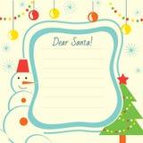 Het malplaatje van de Kerstmisbrief aan Santa Claus voor druk Stock Foto