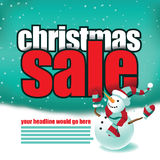 Het malplaatje van de Kerstmisverkoop met leuke sneeuwman Royalty-vrije Stock Afbeeldingen