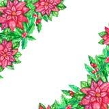 Het malplaatje van de Kerstmiswaterverf met gekleurde bladeren royalty-vrije illustratie