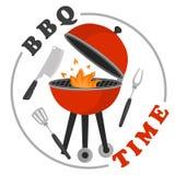 Het malplaatje van de kleurenuitnodiging voor barbecuepartij voor Web en mobiel ontwerp Royalty-vrije Stock Foto