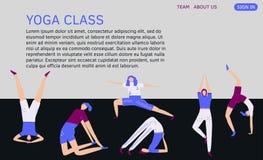 Het malplaatje van de Langingspagina met yoga stelt Vector vlakke illustratie stock illustratie