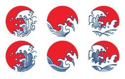 Het malplaatje van het de lijnembleem van de watergolf japans thais royalty-vrije illustratie
