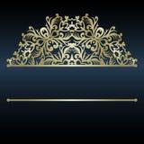 Het malplaatje van de luxeuitnodiging met decoratieve mandala Gouden kant royalty-vrije illustratie