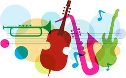 Het malplaatje van de muziek met nota's, gitaar en saxofoon Stock Fotografie