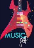 Het malplaatje van de muziekaffiche Stock Foto