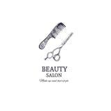 Het malplaatje van de schoonheidssalon Vector hand getrokken illustratie hairstylist vector illustratie
