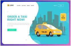 Het malplaatje van de taxiwebsite illustratie van een auto op de achtergrond van de stad stock illustratie