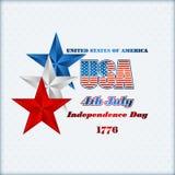 Het malplaatje van de vakantielay-out met blauwe, witte en rode sterren voor four Juli, Amerikaanse Onafhankelijkheidsdag Royalty-vrije Stock Foto