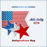 Het malplaatje van de vakantielay-out met blauwe, witte en rode sterren voor four Juli, Amerikaanse Onafhankelijkheidsdag Royalty-vrije Stock Fotografie