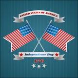 Het malplaatje van de vakantielay-out met twee kruiste nationale vlaggen voor four Juli, Amerikaanse Onafhankelijkheidsdag Stock Foto