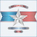 Het malplaatje van de vakantielay-out met zilveren ster kleurt achtergrond voor four Juli, Amerikaanse Onafhankelijkheidsdag Stock Foto's