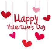 Het malplaatje van de Velentinekaart met rode en roze harten Stock Foto