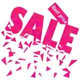 Het malplaatje van de verkoopaffiche in veelhoekige stijl in roze Stock Fotografie