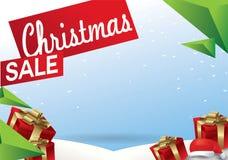 Het malplaatje van het de verkoopontwerp van Kerstmis lege exemplaarruimte voor tekstkorting en aanbieding Vectorillustratie voor royalty-vrije illustratie