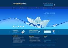 Het malplaatje van de website: document boot in het water Stock Afbeeldingen