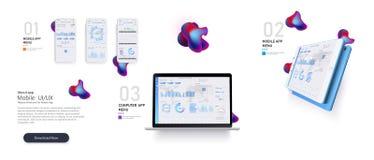 Het malplaatje van de website Forex markt Binaire optie Online statistieken en gegevens Analytics Digitale geldmarkt, nieuws vector illustratie