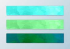 Het malplaatje van de websitebanner met de abstracte achtergrond die van de driehoeksveelhoek wordt geplaatst Royalty-vrije Stock Foto's