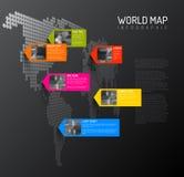 Het malplaatje van de wereldkaart met fotospelden Royalty-vrije Stock Fotografie